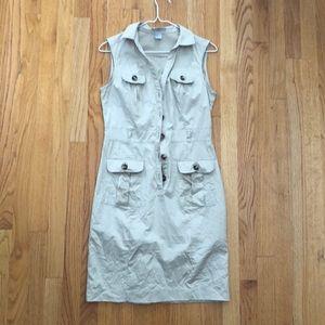 H&M Khaki Button Down Dress Size S